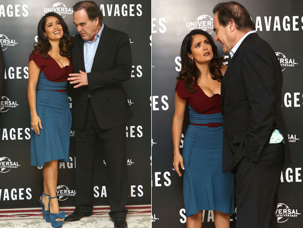 Salma Hayek and Oliver Stone....something/someone appears to have pissed Salma off...