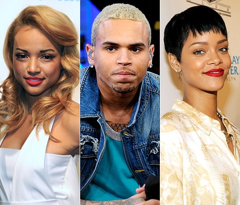 Karreuche Tran, Chris Brown and Rihanna Credit: Mindy Small/FilmMagic; Ida Mae Astute/ABC via Getty Images; Kevin Mazur/WireImage.com