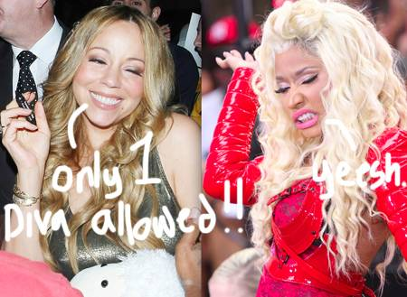 Image via perezhilton. Mariah Carey and Nicki Minaj.