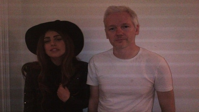 Lady Gaga and Julian Assange.