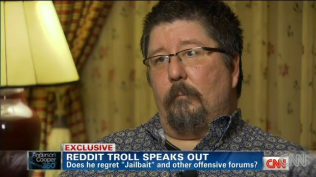 Michael Brutsch aka Violentacrez of reddit on CNN's Anderson Cooper show.