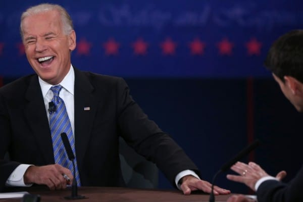 And the winner of last nights vice presidential debate was Joe Bidens laugh.