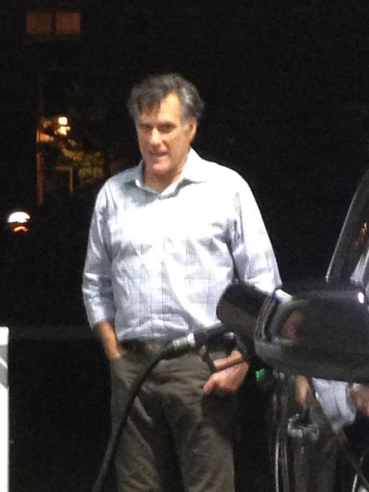 And this is Mitt Romney former Presidential candidate pumping gas in La Jolla.