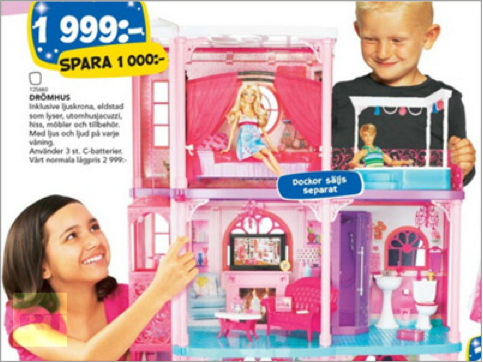 Swedish toy catalogue believes little girls should be allowed to brandish guns like all you little boys too.