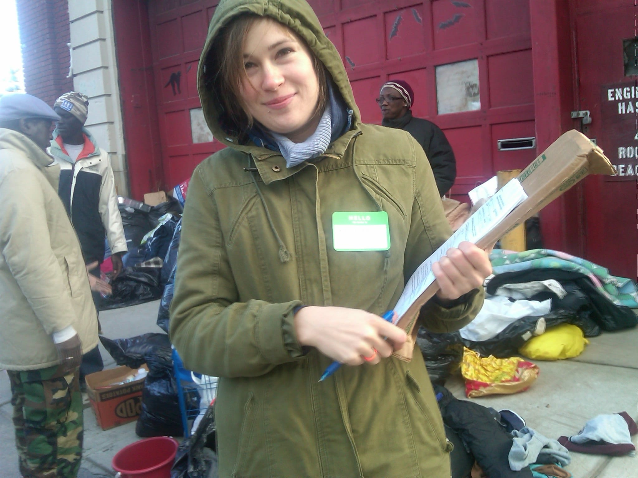 Hurricane Sandy volunteer. Signing people up for foodstamps.