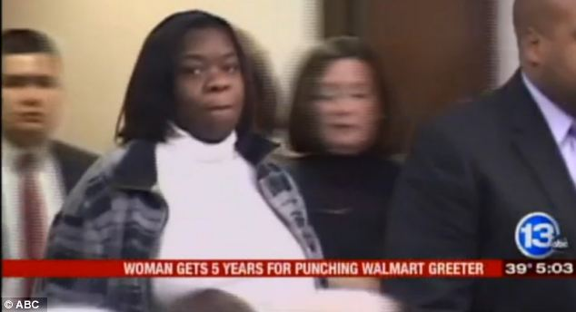 Woman who punched Walmart greeter for asking to see receipt is jailed for 5 years.