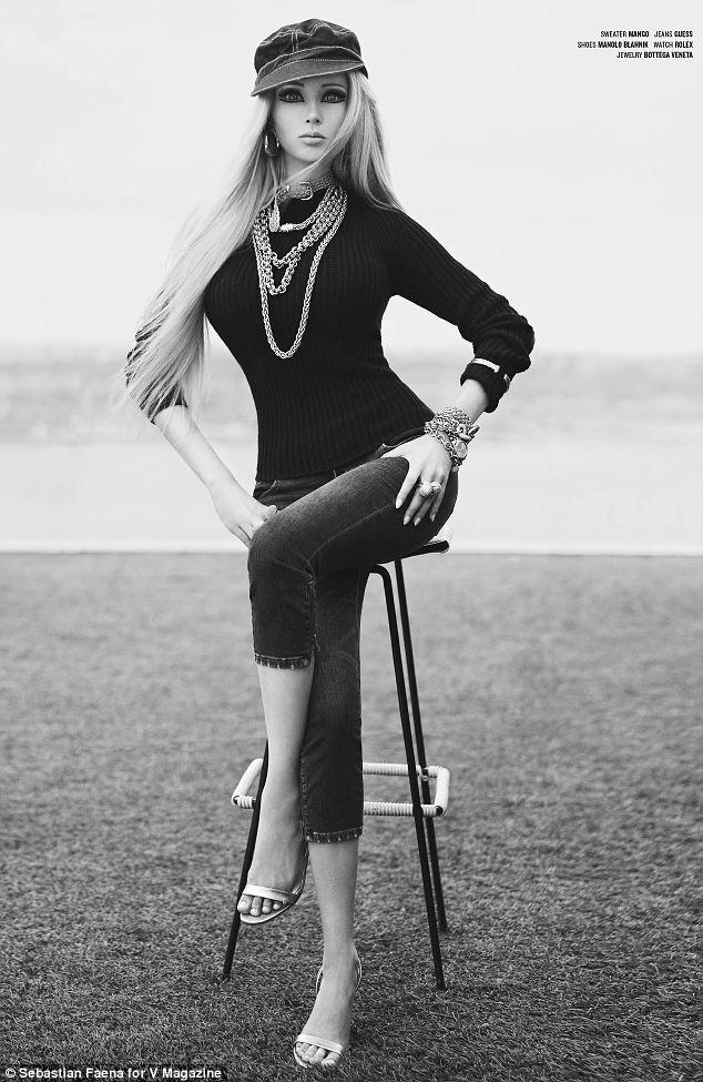 Valeria Lukyonova living Barbie doll stars in high fashion shoot for V magazine.