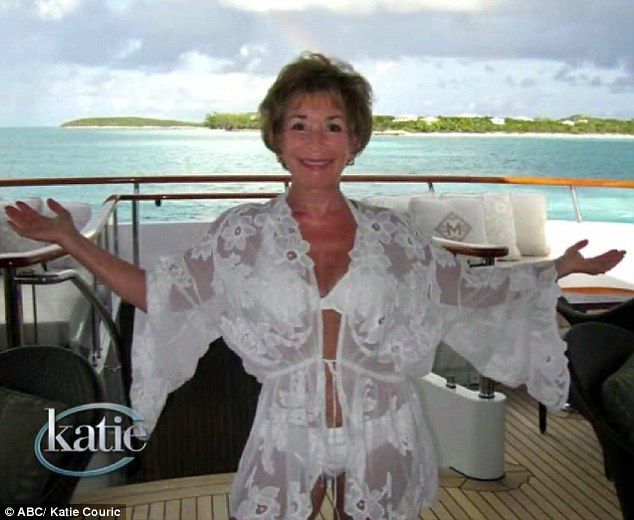 Judge Judy shows off in her bikini for her 70th birthday on the Katie show.