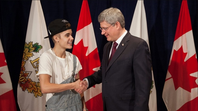 Justin Bieber and Stephen Harper