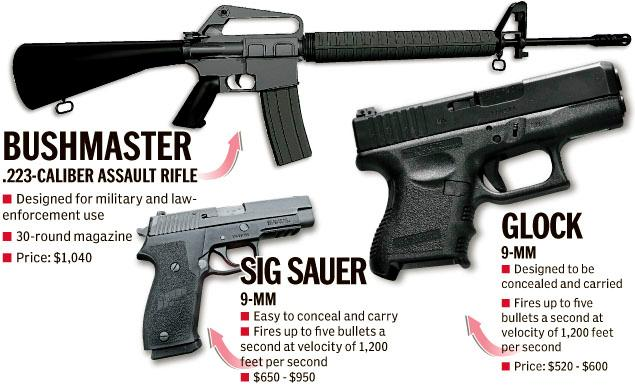 Guns used by Adam Lanza, 20, alleged shooter in Sandy Hook elementary school rampage