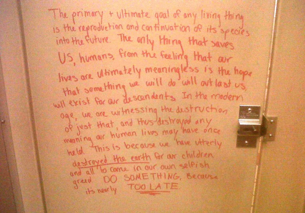 Note in girls University bathroom stall comforting rape victims goes viral.