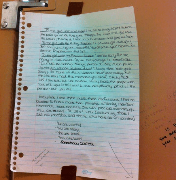 Note in girl's University bathroom stall comforting rape victims