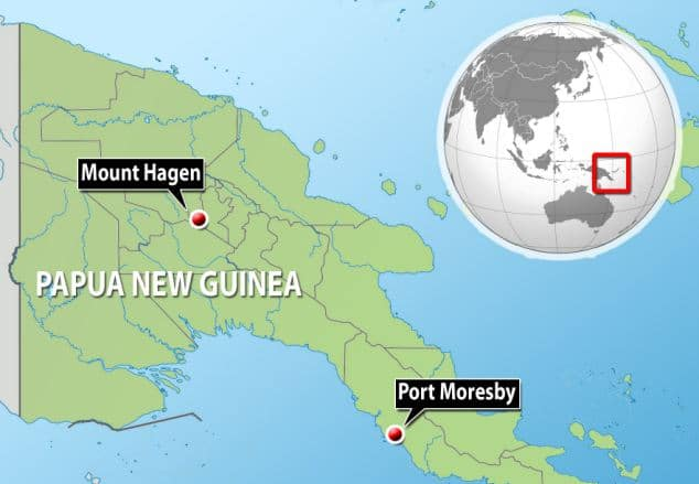 Sorceress burned alive in Papua New Guinea cause she killed a six year old boy.
