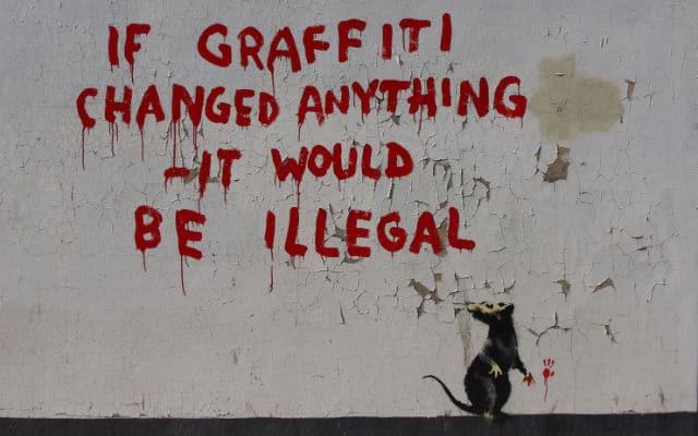 Banksys arrest was just a hoax. Life imitating art.