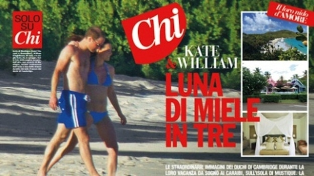 Furore as Kate Middleton lands in Italian Chi magazine bikini pregnant clad.