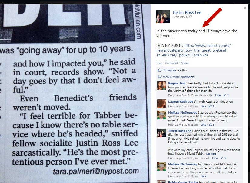 Tabber Benedict: Defamed by the NY Post?