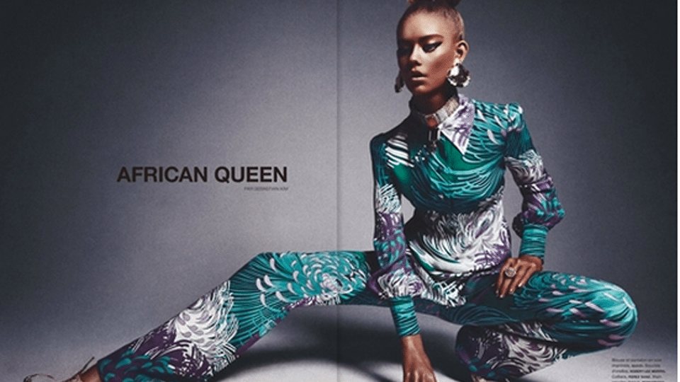 16 year old white girl hired to pose as black girl in African Queen editorial.