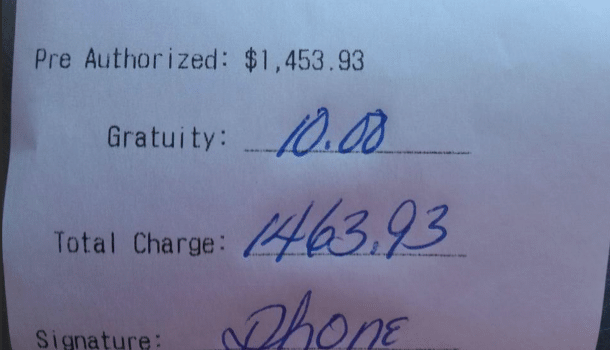 Pizza delivery tip of $10 on $1463 bill