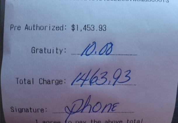 Pizza delivery tip of $10 on $1463 bill leads to ethical outrage.