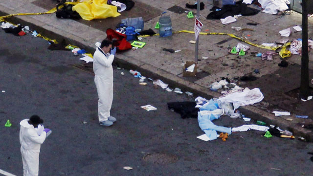 Boston Marathon Explosion. Police insist no suspect or arrest made.