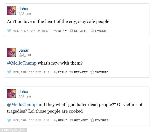 Dzhokhar Tsarnaev tweeted lol these people are cooked on day of Boston Marathon bombing.
