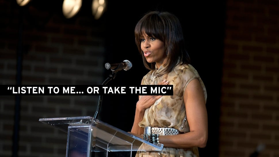 Michelle Obama will not tolerate hecklers thank you very much!