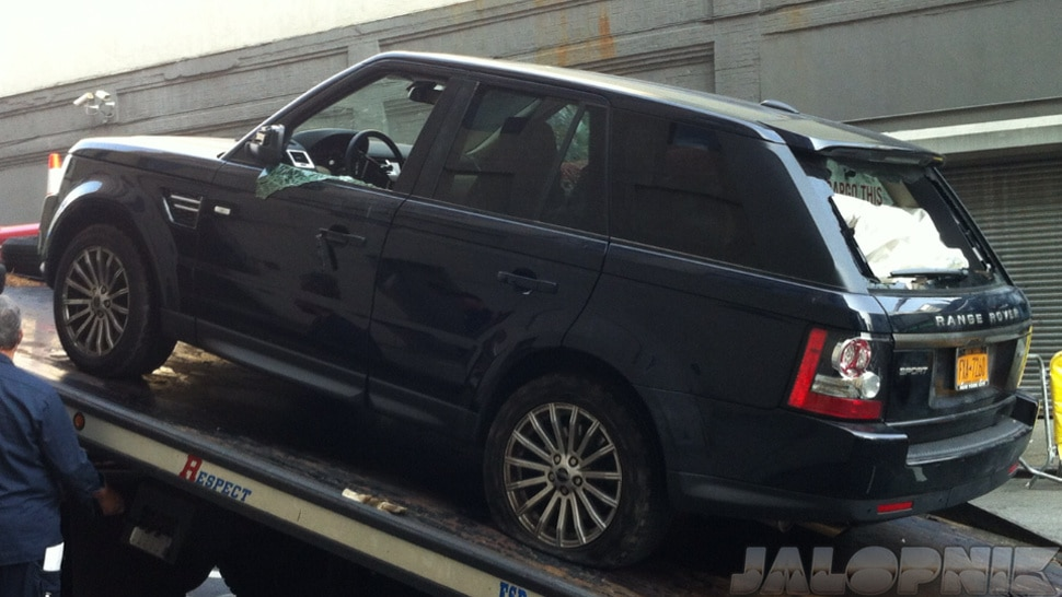 Here is a picture of Alexian Liens Range Rover after the biker attacks.