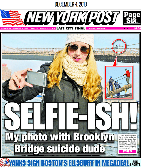 Tasteless? Brooklyn Bridge suicide selfie causes outrage.
