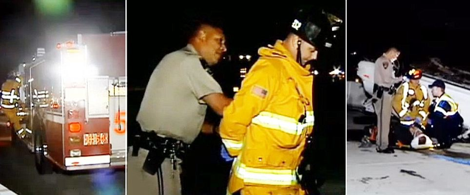 Jacob Gregoire, firefighter arrested by cop because he refused to move firetruck during rescue mission.