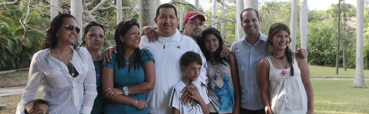 Venezuelan president Chavez poses for a picture with his family while recovering in La Habana