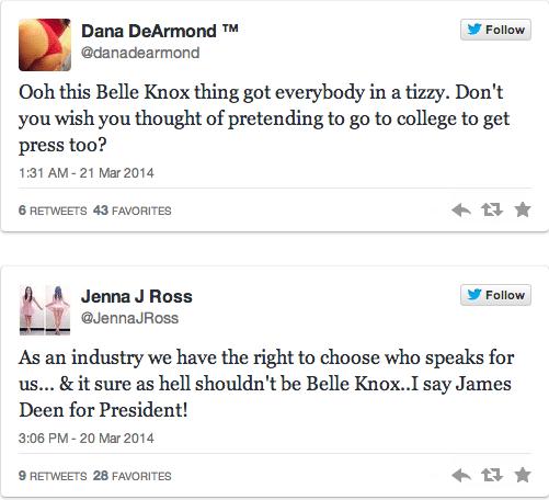 Belle Knox, Miriam Weeks backlash from adult industry sets in.