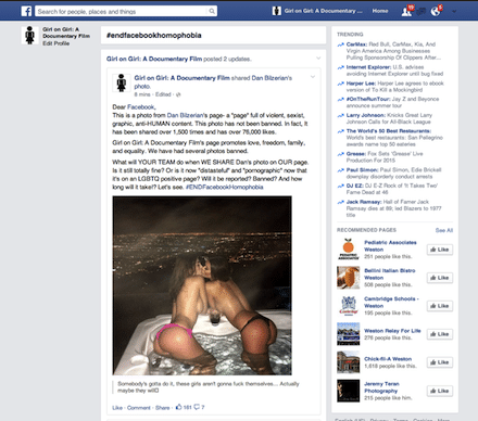 Did posting lesbian photos on Facebook get one user banned?