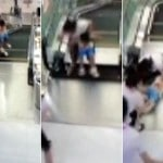 Video: Chinese mother swallowed by escalator, child survives.