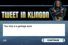 The Final Frontier: Tweeting in Klingon
