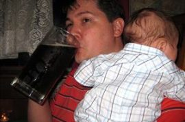 Matthew Brace tries to trade baby for beer.