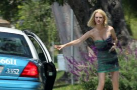 January Jones prefers the cab of shame.