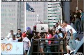 Drake the rapper nearly causes riot in downtown Manhattan, NY.