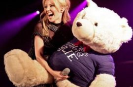Kylie Minogue's teddy bear is not welcomed on Facebook.
