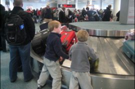 Bradley Ray Bromelow is arrested for riding in the airport baggage claim carousel.