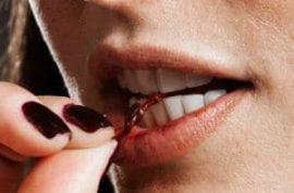 Woman bites off boyfriend's testicles.
