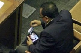 Anti porn politician caught watching porn in parliament.