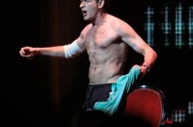 Charlie Sheen strips and receives standing ovation in second show.