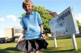 Boy wears skirt to school in protest against discrimination.