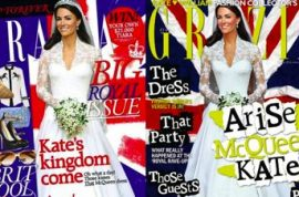 Grazia Magazine is playing games with Kate Middleton's figure on its covers.