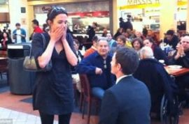 Wedding proposal in food court a disaster.