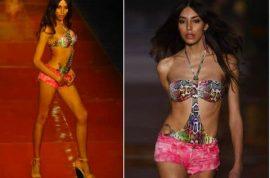 Transgender model Lea T struts it hard in the Blue Man Runway fashion show.