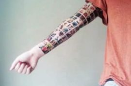 Woman tattoos all her facebook friend's faces on her arm.