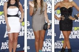 Which celebrity ended up wearing the shortest dress at the MTV Movie Awards?