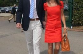 Pippa Middleton and her re united boyfriend Alex Loudon turn up to Wimbledon wide eye smiling.