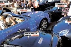 Hopeless blonde crashes her Bentley into a Mercedes, Porsche, Ferrari, and Aston Martin